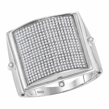 10kt White Gold Mens Round Pave-set Diamond Square Dome Cluster Ring 3/4 Cttw
