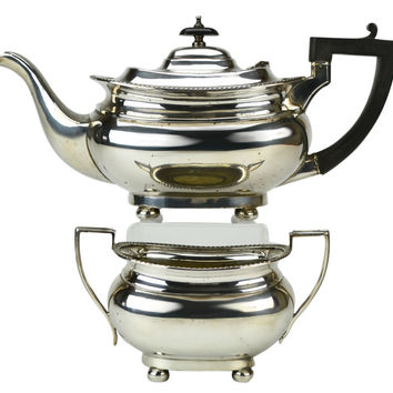 Silver Plated Teapot and Sugar Bowl by Daniel Welby Antique English circa 1900