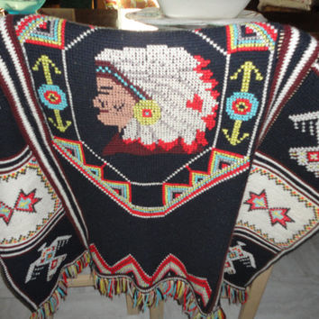 Native American Inspired Vintage Cross Stitch Thunder Bird Chief Fringed Couch Throw Blanket