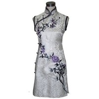 Amazon.com: Blooming flowers of fortune embroidery qipao dress: Clothing