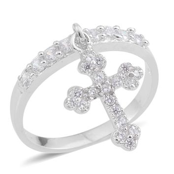 Simulated Diamond Sterling Silver Cross Charm Ring