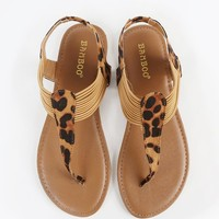 Womens Bamboo Sequoia-81 Leopard Thong Sandals New: In Box