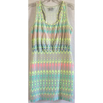 American Eagle Neon Ikat Bodycon Dress Tribal Yellow Orange Turquoise Tank M