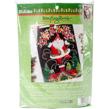 "Believe Santa Bucilla Felt Wall Hanging Applique Kit 14.5""X21.5"""