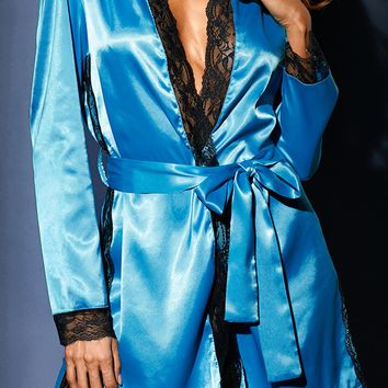 Shiny Blue Bedtime Lace Trim Satin Robe