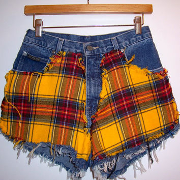 Yellow Flannel High Waisted Denim Shorts