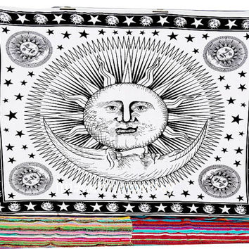 Sun Moon Tapestry,Indian Tapestry ,Sun-Moon Wall hanging ,Sun Bedspread Ethnic home decor Bohemian Bedding throw