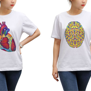 Women Heart & Brain Printed Round Neck Short Sleeves T- Shirt WTS_17
