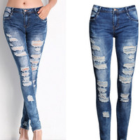 New 2016 Sexy Ladies Jeans Bule Skinny Ripped Jeans Woman Stretch Boyfriend Jeans For Women Plus Size vetement femme