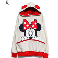 2013 Girls Vivi Lovely Mickey/Minnie Mouse Ear Hoodie Zip Up Sweatshirt S25