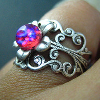 dragon's breath Vintage iridescent opal glass filigree