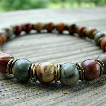 Red Creek Jasper Stretch Bracelet, Gemstone Stacking Bracelet with Antique Brass Split Rings, Rustic Beaded Bracelet