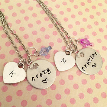 Crazy and Crazier Best Friends Necklaces - Crazy and Crazier - Best Friends Forever Jewelry - Sister Jewelry - Personalized Jewelry