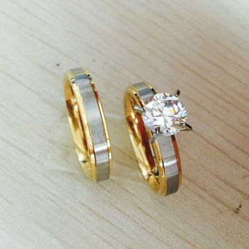 4mm titanium Steel CZ rhinestone Korean Couple Rings Set for Men Women Engagement Lovers,his and hers promise,2 tone gold silver