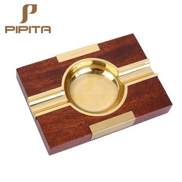 Cohiba Style Cigar Ashtrays Metal and Wood Portable Travel Cigarette Ashtray Holder With Gift Box Cigar Accessories Home