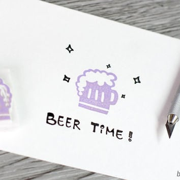 beer stamp, dad stamp, foamy beer rubber stamp, father's day, st. patrick's day, cheers! alcohol stamp, beer glass rubber stamp, hand carved