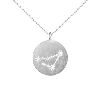 Silver Zodiac Pendant with Diamonds - Capricorn
