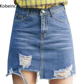 Kobeinc Faldas Mujer 2017 Summer Style Skirts Womens High Waist A-Line Denim Skirt Streetwear New Hole Jeans Bodycon Jupe S~L