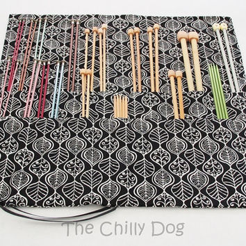 Roll Up Knitting Needle Case: Black Leaf Vines