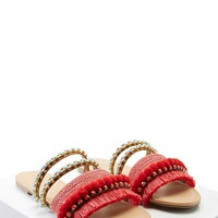 Fringed Pom Pom Sandals