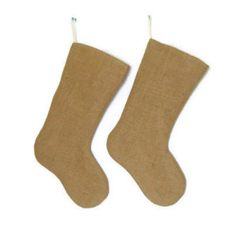 Burlap Stocking, Christmas Burlap Stocking, Set of Two