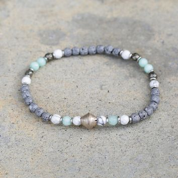 Howlite and Amazonite Delicate Aromatherapy Bracelet