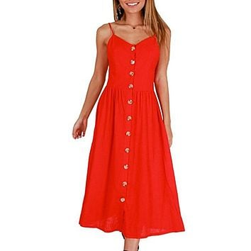 3XL Plus Size Dresses Vintage White Red Button Backless Strap Sexy Beach Dress Party Slim Pockets Women Summer Dress Vestidos