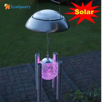 Fashion Solar Powered Color Changing Glass Ball LED Light Copper Hanging Wind Chime Light Yard Decor
