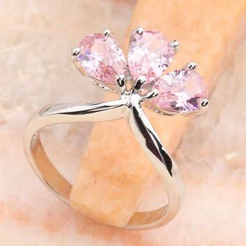 Glamorous Pink Kunzite 5*6mm Semi-precious Stone Silver Cool For Women Ring Q2515