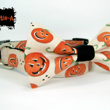 Halloween  Dog Collar with bow tie set  (Mini,X-Small,Small,Medium ,Large or X-Large Size)- Adjustable