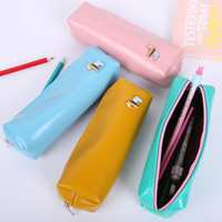 1pcs Kawaii PU Leather Horse Pencil Case School Supplies Stationery Gift Students Cute Candy Color Storage Pencilcase