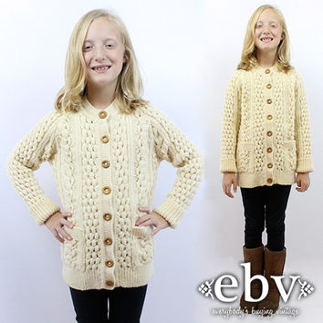 Kid's Vintage 70s Cream Cable Knit Wool Cardigan Fisherman Cardigan Chunky Knit Kids Vintage Sweater Children's Vintage Girls Vintage
