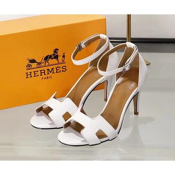 Hermes Fashion Women Heels Sandal Shoes White I-ALS-XZ