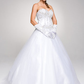 Studded Corset Bodice Long White Quinceanera Princess Gown