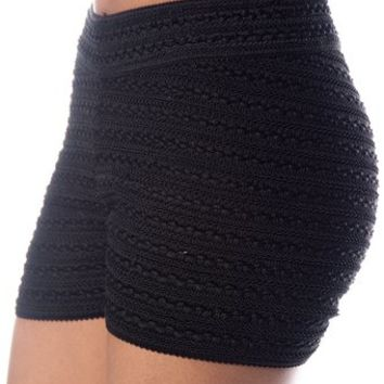 High Waist Thick Knit Booty Shorts - Black from Evening & Club at Lucky 21 Lucky 21