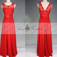 Elegant Sheer Illusion High Neck Pearl Beaded Lace Top Long Red Backless Evening Dresses Gown New Year Party Chiffon 2014 Red Prom Dresses