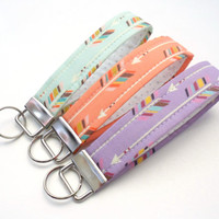 Pastel Arrow Key Chain, Geometric Fabric Key Fob , Gray Polka Dot Vegan Key Strap - Coral Mint Lavender