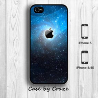 iPhone 4 / 4S Blue Galaxy and Apple Logo Hard Case Universe Space iPhone 5 Back Cover --000051