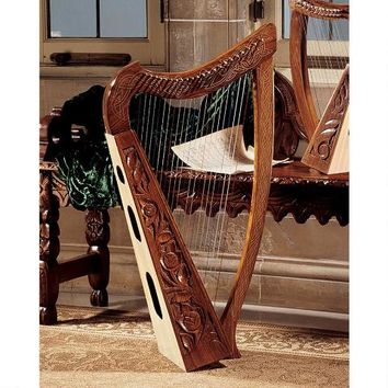 Celtic Rosewood Heather Harp - MD4842 - Design Toscano
