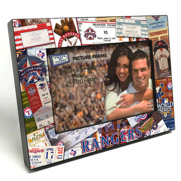 Wooden 4x6 Ticket Collage Photo Frame MLB Texas Rangers