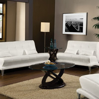 A.M.B. Furniture & Design :: Living room furniture :: Sofas and Sets :: Leather Sofa sets :: 2 Pc. White Modern Style Leatherette Artem With Pillows and Chrome Legs Sofa and love seat Set