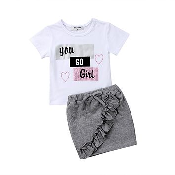 2018 Newborn Kids Baby Girls Short Sleeves Tops T-shirt Denim Skirts You Go Floral Outfits Clothes Summer Set