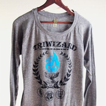 Harry Potter Woman's SLOUCHY PULLOVER - Blue Flame of the Goblet of Fire Spits Out Harry Potter's Name in the TriWizard Tournament
