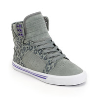 Supra Womens Skytop Grey & Cheetah Print High Top Shoe