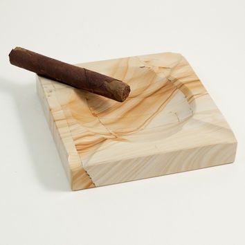 Solid Marble Cigar Ashtray, Square, Natural