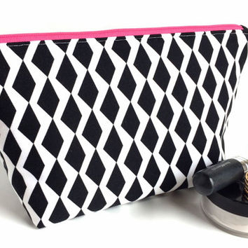 Large Makeup Bag, Large Zipper Pouch, Black Makeup Bag, Modern Makeup Bag, Large Cosmetic Bag