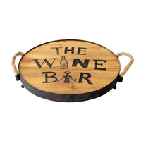 Wine Bar Wood Tray with Rope Handles, 16-in.