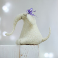Needle Felt Elephant - Dreamy White Elephant With Ribbon -Needle Felt Art Doll -  Withe Jumbo