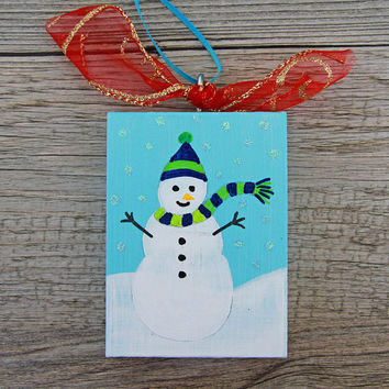 Painted Snowman Ornament, Blue Holiday Wood Ornament, Snowman on a Hill, Handmade Christmas Decoration, Christmas Ornament, Primitive Art