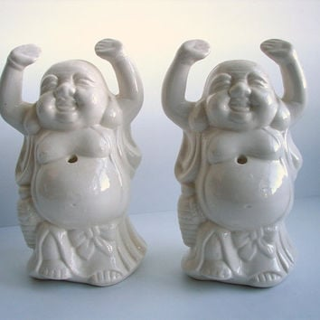 Pair of Vintage Laughing Buddha Buddies Beverage by ThirdShift